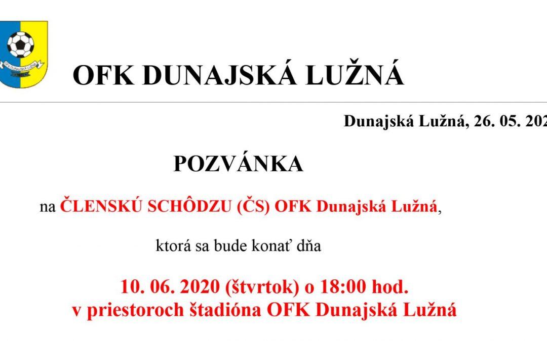 Členská schôdza OFK Dunajská Lužná